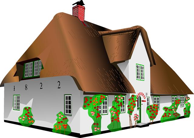 kreslený dům, hnědá střecha